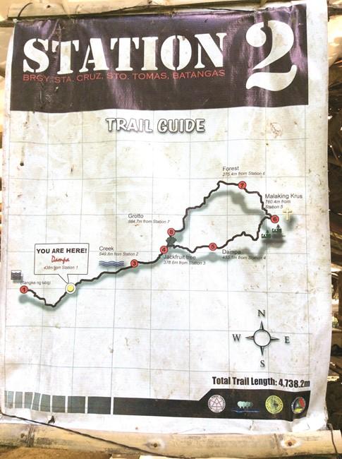 登山道の案内図。各休憩ポイントの目印が書かれていて分かりやすい