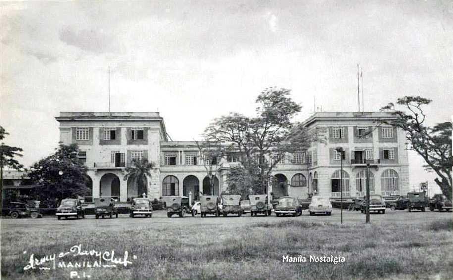戦後修復された米軍専用の社交クラブ「マニラ・アーミーネイビー・クラブ」。(1946年)
