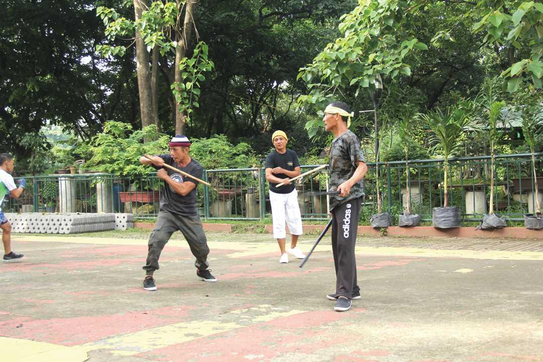 フィリピンの伝統武術、「アーニス」の練習風景