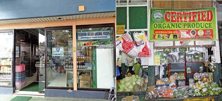 左:カソリック団体運営のオーガニック専門店Mountain Grown Natural Food。右:バギオの市場内のLATOPショップ