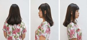 Effortless Layer Style with Short Bangs アッシュブラウンカラーのレイヤースタイル。前髪にアクセントをつけ視線を持って来ることにより、しっかりした印象を与える。働く女性におすすめのスタイル。 Layer hairstyle with ash brown hair color is recommended for working women and to give a more impressive look, cutting the bangs a little shorter can add an accent to the over all hair style.